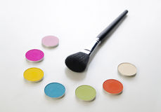 Brush and cosmetics Stock Images