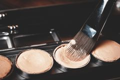 Brush and cream concealer. Professional cosmetic. Cream concealer. Royalty Free Stock Image