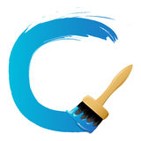 Brush drawing blue circle Stock Image