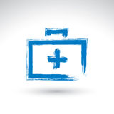 Brush drawing simple blue first aid kit, medicine icon, created Stock Images