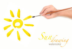 Brush drawing sun Stock Images