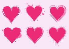 Brush drawing vector hearts. Abstract Valentines hearts - vector brush drawing royalty free illustration