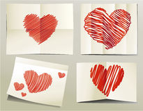 Brush drawing vector hearts. Valentines hearts  - vector brush drawing Royalty Free Stock Images