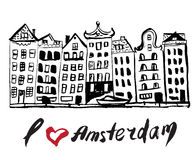 Brush drawn buildings Amsterdam Stock Images