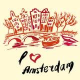 Brush drawn buildings Amsterdam Royalty Free Stock Photography