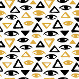 Brush drawn eyes and triangles seamless vector pattern Royalty Free Stock Images