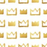 Brush drawn golden crowns seamless pattern Royalty Free Stock Image