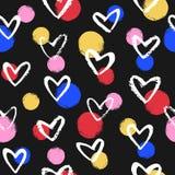 Brush drawn hearts and colorful circles seamless pattern stock image