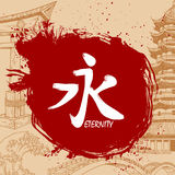 Brush drawn Japanese Kanji with meaning. Hand drawn Japanese Kanji with meaning Stock Image