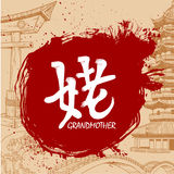 Brush drawn Japanese Kanji with meaning Royalty Free Stock Photo