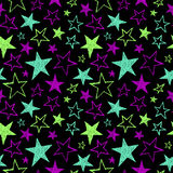 Brush drawn textured neon stars seamless vector pattern Royalty Free Stock Images