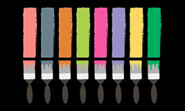 Brush draws colored lines Royalty Free Stock Images