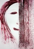 A brush draws the face of a person, half of the face is covered with a rectangle. Indecision. royalty free stock image