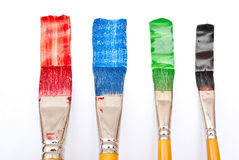 Brush draws strip on paper Royalty Free Stock Photo