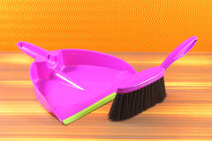 Brush and Dustpan violet Royalty Free Stock Photo