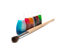 Brush and dye Royalty Free Stock Image