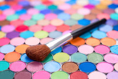 Brush with eye shadows Stock Photography