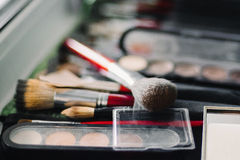 Brush and eyeshadow makeup for eyes Stock Photo