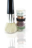 Brush and eyeshadows Royalty Free Stock Photography