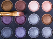 Brush with eyeshadows Royalty Free Stock Photo