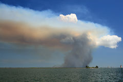 Brush Fire in Florida. Smoke rising from brush fire on Merritt Island, Florida Royalty Free Stock Photo