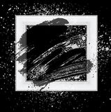 Brush 01 frame black. Smudge and smear a brush in a frame, vector background, illustration clip-art stock illustration