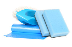 Brush, garbage bags and sponges. For cleaning isolated on white Stock Photography
