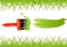 Brush with green paint. And grass frame stock illustration