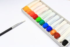 A brush and a group of water color for painting Stock Photography