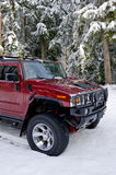 Brush guard Hummer H2 in the snow Royalty Free Stock Photos