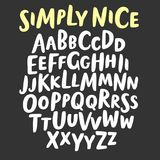 Brush hand drawn big and small letters. Simply nice hand drawn brush ink  ABC big and small letters set. Doodle decorative font for your design Royalty Free Stock Image