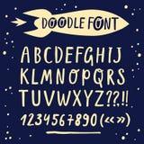Brush hand drawn vector font with cartoon rocket Royalty Free Stock Photos