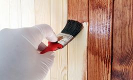 Brush in hand painting on the wooden wall Royalty Free Stock Photography