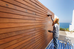 Brush in hand and painting on the wooden wall Stock Images
