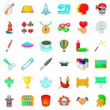 Brush icons set, cartoon style Stock Images
