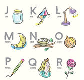 Brush_Illustrated_Alphabet_Letters_J-R Stockbild