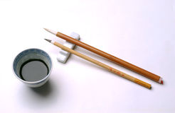 Brush and ink. Chinese brush and ink with white background royalty free stock images