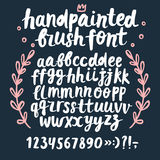 Brush ink vector ABC letters and figures set Stock Images