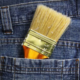 Brush in the jean's pocket Royalty Free Stock Photos