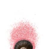 Brush kabuki close-up with pink blush or highlighter isolated on white. Background Royalty Free Stock Images