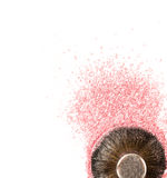 Brush kabuki close-up with pink blush or highlighter isolated on white. Background Stock Photo
