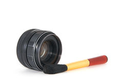 Brush with lens. Professional makeup brush with Camera lens Stock Images