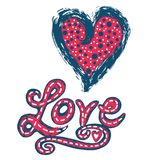 Brush lettered red blue vector heart and Love in bold text. vector illustration