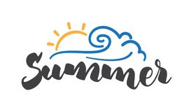 Brush lettering composition of Summer with line sun and wave on white background. Vector illustration: Brush lettering composition of Summer with line sun and Royalty Free Stock Photo