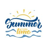 Brush lettering composition of Summer Time with sun, waves and birds on white background. Vector illustration: Brush lettering composition of Summer Time with Stock Images