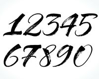 Lettering numbers. Brush lettering numbers. Modern calligraphy, handwritten letters. Vector illustration Stock Images