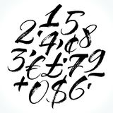 Lettering numbers. Brush lettering numbers, punctuation and currency symbols. Modern calligraphy, handwritten letters. Vector illustration Stock Images