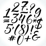 Brush lettering vector numbers and punctuation royalty free illustration