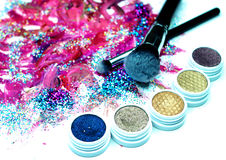 Brush, Lipstick, and Makeup Shadows Stock Image