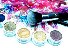Brush, Lipstick, and Makeup Shadows Royalty Free Stock Images
